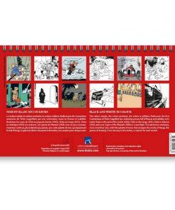 Hergé-a-Calendrier-Tintin-noir-et-blanc-en-couleurs-Papeterie-civile-Calendrier-à-poser